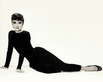 Audrey Hepburn Postcard, Real Photo Large Size Postcard is 8 by 10 inches, Chic Girly Room Movie Star Wall Decor, Black and White Wall Art,