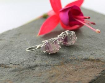 Rainbow Fluorite Drop earrings in Sterling Silver