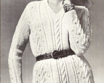 Aran Jumper Dress Knitting Pattern : INSTANT DOWNLOAD PDF Vintage Knitting Pattern Aran Sweater
