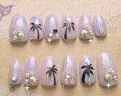 Pastel nails, 3D nails, ombre, tie dye, beach, tropical, ombre nail, Japanese nail art, mermaid nail, palm tree, sea shell, mermaid,