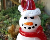 Santa Snowman with Red Ca...