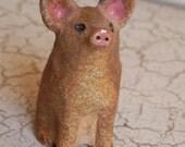rustic stoneware pig, piggie, mini pig animal figurine