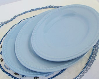 Kraft Blue Homer Laughlin Plates Medium Small Rope Shape Edge Mid Century Kitchen HLC Baby Sky Blues China Dishes Dessert Salad Bread
