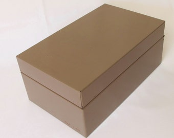 Long Metal Fle Box Industrial Heavy Tan Ecru Brown Gray Storage Container Hinged Lid Slider for Cards 3 by 5 Inch