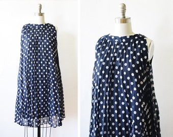 60s navy polka dot dress, vintage 1960s pleated tent dress, cotton mod dress, medium large
