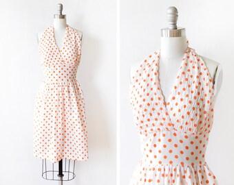 polka dot halter dress, vintage 60s dress, white and orange polka dot dress, extra small xs