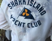 Vintage Shark Island Yacht Club Nautical Wind Breaker Jacket Retro Shirt Coat Size Large 60s 70s Sand, Sail, Surf, Beachwear