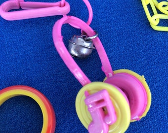 Vintage 80's Plastic Bell Clip Music Headphones Charm Toy Necklace Jewelry Pendant Pink & Yellow