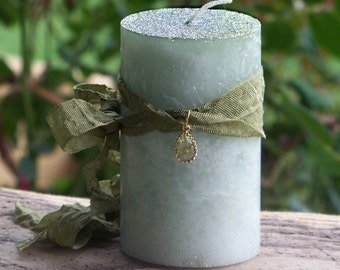 """BAYBERRY """"Legends of Luck""""™ """"Old European Witchcraft""""™ Pillar Candle w/ Gold Plated Glass Teardrop - Yule, New Year's Eve, Prosperity Ritual"""
