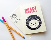 lion greeting card. roar hand printed note card. cute quirky card for birthday baby shower holidays. animal illustration. choose option