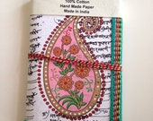Indian Paisley, Art Journal, White, Sanskrit Mantra Background, 6 x 4 inches, Blank Diary, School Subject Notebook, Everyday Notes