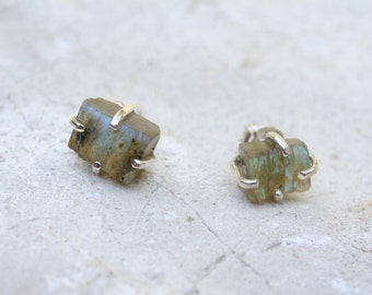 Labradorite Earrings, Stud Earrings, Rough Gemstone Earrings, Labradorite Jewelry