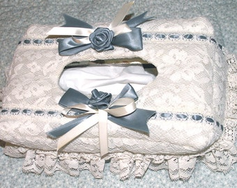 CLEARANCE Tissue Box Cover Lace Boutique Embellished Ribbon Roses & Bows Shabby Chic Cottage Decor