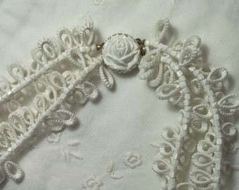 Vintage Necklace LUAU Hawaiian Jewelry Made W. Germany White Rose Long Double Strand