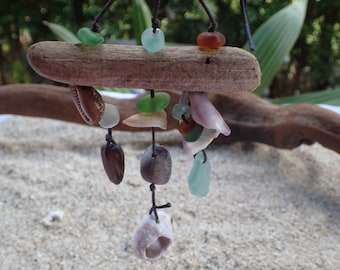 Small sea glass and shell wall decor