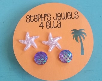 Beach Vacation Set Purple Iridescent Mermaid Sparkle Circle and Pearl White Starfish Earrings
