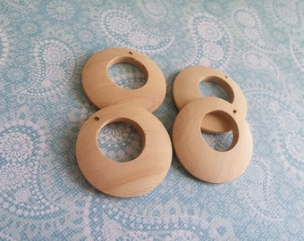 """4 Round wood pendant, unfinished, earring hoop, natural 3.5cm Dia. (1 3/8"""")"""