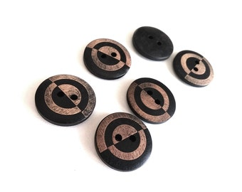 6 geometric black and brown wooden buttons 23mm  (BB127B)