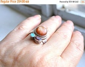 EASTER Sale Sunstone Ring with Garnet and Opal , Three Stone Ring Set in Sterling Silver , Multistone Ring , Size 8.25