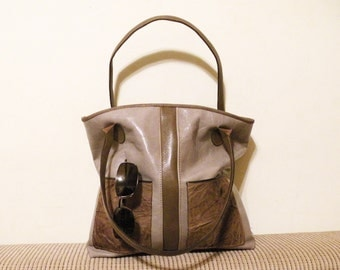"lined leather tote – handmade fashion bag - bag with pockets - ooak genuine leather bag - purse with pockets ""SERENA"""