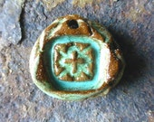 Rich Rustic Turquoise Boho Western Country Cowgirl Organic Cross Pendant Ceramic Clay Pottery