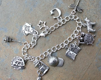Gilmore Girls Charm Bracelet - with charms for Rory, Lorelai and many other Stars Hollow folks - free shipping USA