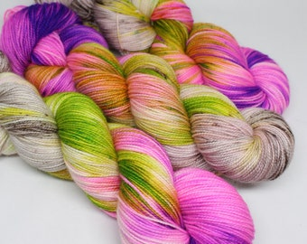 Hand Dyed Speckled Sock Yarn - SW Sock 80/20 - Superwash Merino Nylon - 400 yards - Down the Rabbit Hole