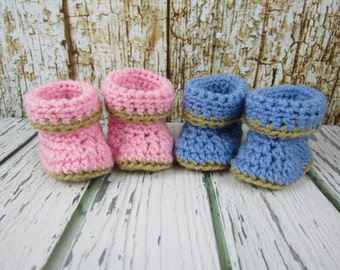"Baby Doll Shoes, Crochet Baby Doll boots, blue doll shoes, pink doll shoes, doll gift idea, 18"" doll shoes, 15"" doll shoes, doll booties"