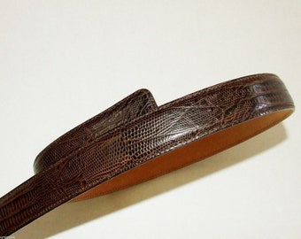 1980's Brown Leather Lizard Embossed HAROLD POWELL Belt -Leather Buckle- ITALY 3907