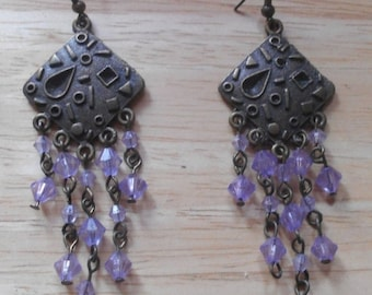 2 DAY SALE Vintage Purple Beads Chandelier Dangle Earrings