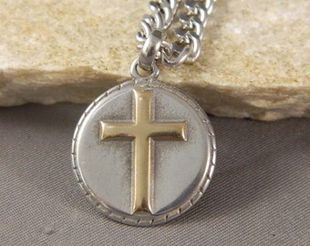 Gold Cross Stainless Steel Necklace