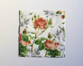 Roses Napkin, Craft Napkin, Paper Napkin for Decoupage, Scrapbooking Napkin, Decoupage Paper Tissue