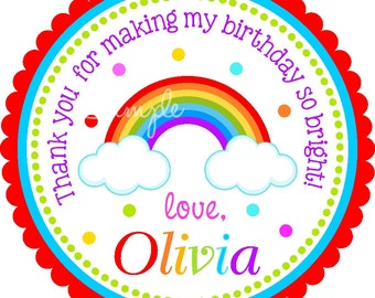 Rainbow Stickers , Personalized Labels, Rainbow Gift Tags, Rainbow Birthday Party  - set of 12