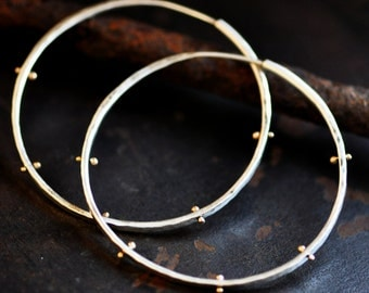 2 inch pinned hoop earring, sterling silver 14k gold mixed metal round loop, forged endless thick large hoop earring
