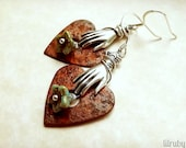 Rusty wire wrapped heart and hand earrings, perfect Valentines Day gift