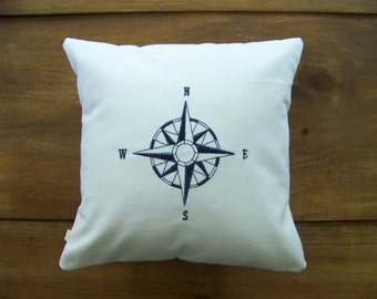 compass rose pillow / navy / summer / ocean / nautical / embroidered / embroidery / cushion / white canvas /