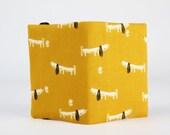 Fabric card holder -  Bertie the dachshund / Dashwood studio / Sausage dog / mustard yellow / black / grey / Cute dog