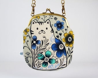 Metal frame purse with strap - Pennie in grey - Bag smile / Japanese fabric / Wattsalot / Cotton and Steel / cat flowers / yellow mint blue