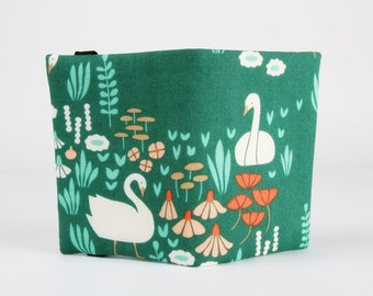 Fabric card holder - Swans on green / Cloud9 organic fabric / Elizabeth Olwen / Coral red pink mint