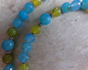 Bright Agate Necklace. Olive and Aqua with Bali Silver