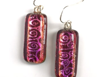 Copper pink fused dichroic glass earrings - copper - drop earrings EE 217