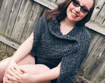 Heather grey wrap, grey shawl, handmade large button scarf grey fall accessory