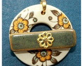 Heirloom Yellow Flowers Ceramic Clasp - Large Ceramic Circle Focal Toggle Clasp