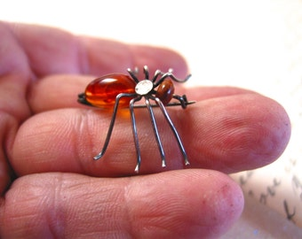 Sterling silver amber spider pin brooch