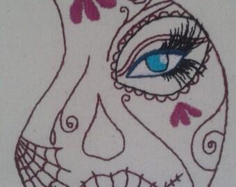 Sugar Skull Face Embroidery Design