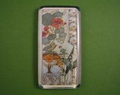 "Nasturium and Lily of the Valley Lithograph ""Etudes de Fleurs"" Rectangle Glass Tile Paperweight French Art Nouveau"