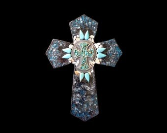 Western Southwestern Mosaic Wall Cross with Genuine Turquoise and Mother of Pearl Ready to Ship