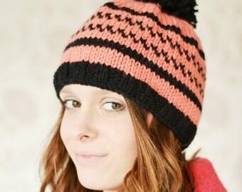 ON Sale Womens Fair isle Beanie Hat, Ski Hat, Icelandic Pompom Hat, Warm Chunky Hat, Knit hat, UK Hat, Xmas Gift Present