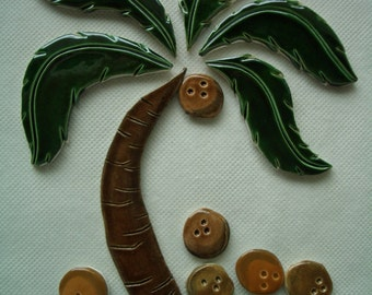 TON -  PALM Tree, Coconuts - Ceramic Mosaic Tile Set