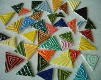 42K - 42 pc COLORFUL Stamped TRIANGLES - Ceramic Mosaic Tiles Set
